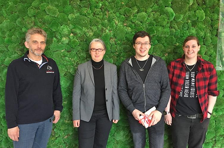Sven-Ove Wähling (GF Netzlink), Prof. Dr. Ina Schiering (Ostfalia), Ulrich Fink (Prüfling der Netzlink), Sarah Demuth (Prüfer Netzlink) (v.l.n.r.)